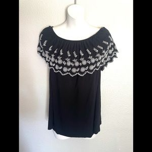 ADRIANNA PAPELL black off shoulder embroidered top